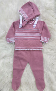 Spanish Knitted Three Piece Outfit With Bonnet - Dusky Pink