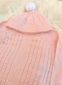 Pink Cotton Knit Outfit With Pompom Hat