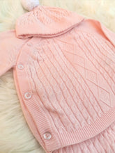 Load image into Gallery viewer, Pink Cotton Knit Outfit With Pompom Hat