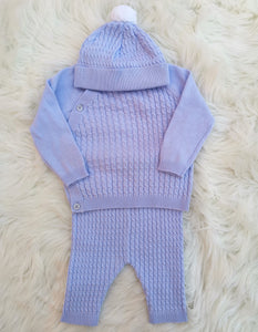 Blue Cotton Knit Outfit With Pompom Hat