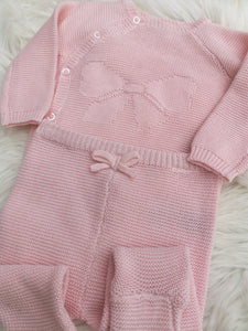 Baby Girls Cotton Knit Outfit With Knit Bow Detail