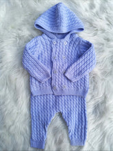 Load image into Gallery viewer, Blue Cotton Double Layer Knit Jacket And Pant Outfit