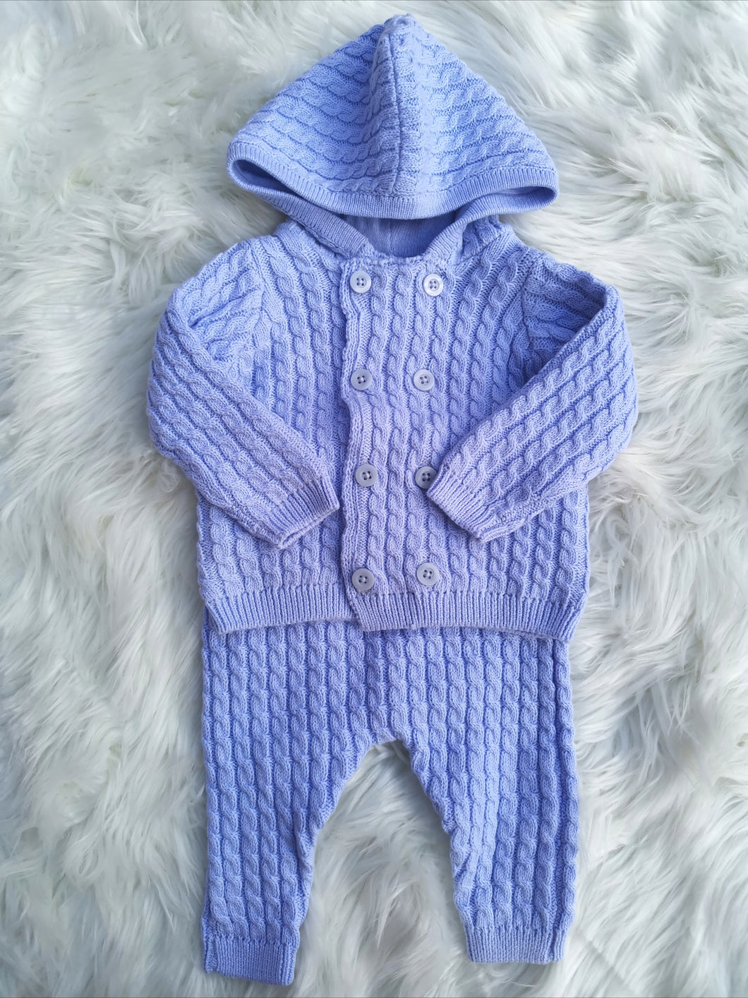 Blue Cotton Double Layer Knit Jacket And Pant Outfit