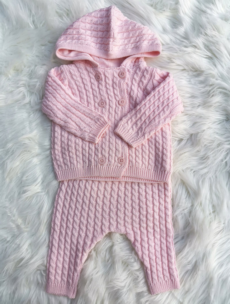 Pink Cotton Double Layer Knit Jacket And Pant Outfit