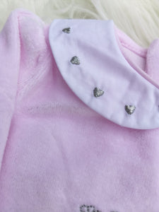 Pink Smocked Velour Sleepsuit With Embroidered Swan