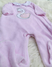 Load image into Gallery viewer, Pink Smocked Velour Sleepsuit With Embroidered Swan