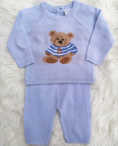 Baby Boys Fine Knit Outfit With Teddy Bear