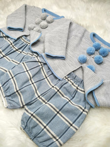 Traditional Boys Knitted Top And Tartan Shorts