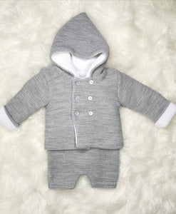 Grey Thick Knitted Winter Coat With Dungarees