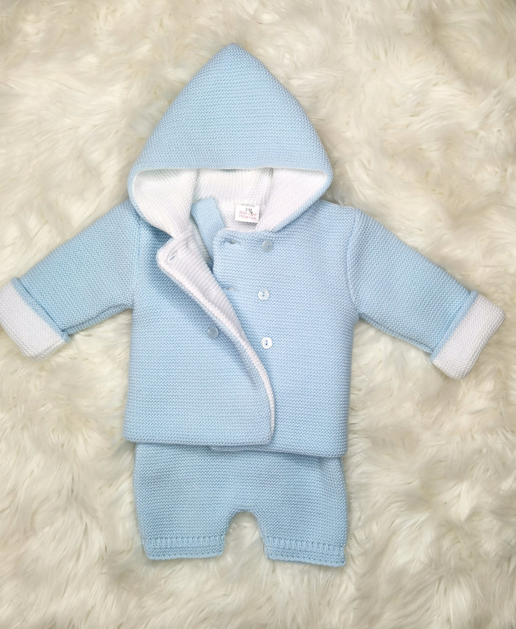Blue Thick Knitted Winter Coat With Dungarees