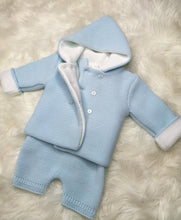 Load image into Gallery viewer, Blue Thick Knitted Winter Coat With Dungarees