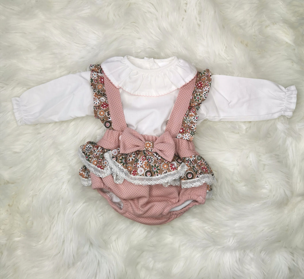 Dusky Pink Ruffle Romper With Shirt