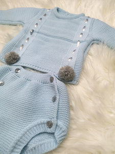 Blue Traditional All Knit Outfit With Pompoms
