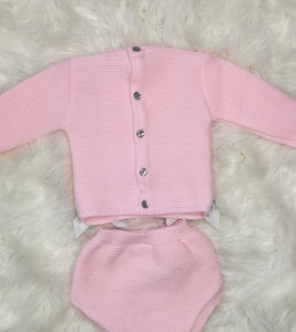 Pink Traditional All Knit Outfit With Bows