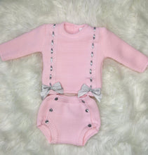 Load image into Gallery viewer, Pink Traditional All Knit Outfit With Bows