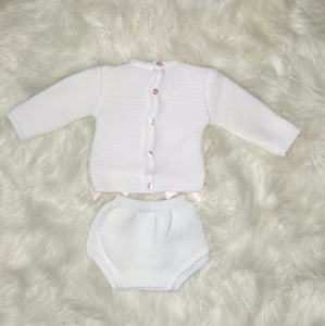 White Traditional All Knit Outfit With Bows