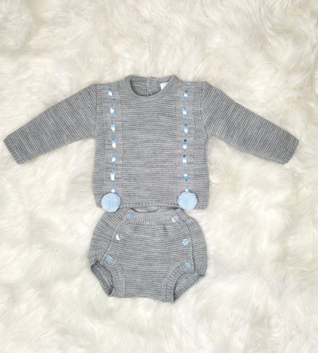Grey Traditional All Knit Outfit With Pompoms