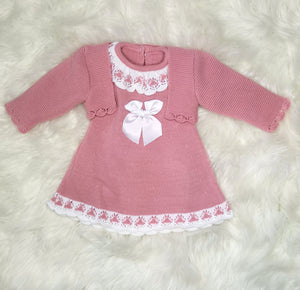Dusky Pink, Classic Knitted Baby Girls Dress With Bolero