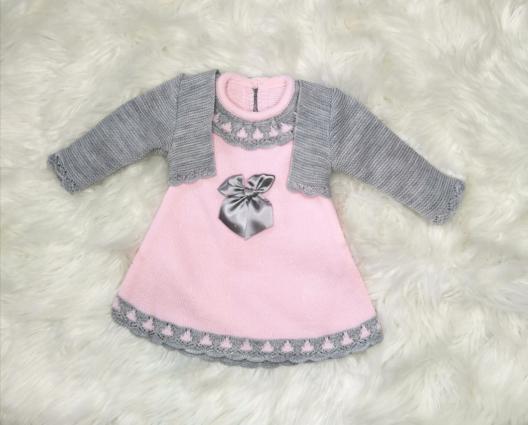 Baby Pink Classic Knitted Baby Girls Dress With Bolero