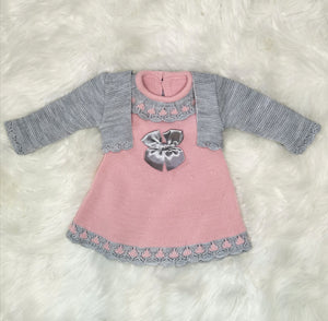 Rose Pink Classic Knitted Baby Girls Dress With Bolero