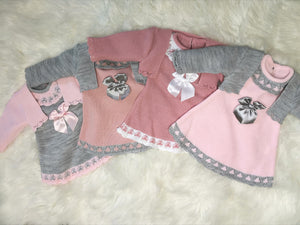 Grey and Pink, Classic Knitted Baby Girls Dress With Bolero