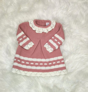 Dusky Pink And Cream Girls Knitted Dress And Bolero