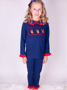Exclusive Girls Lounge Wear With Embroidered Reindeers Designed By Henry's Wardrobe