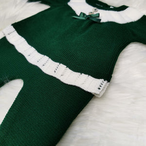 Portuguese Green Knit 2 Piece With Pompom Hat