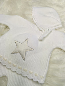 Portuguese White Coloured Knit 2 Piece With Bonnet