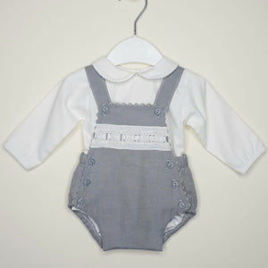 Portuguese Ribbin Slot Romper With Peter Pan Collar Shirt