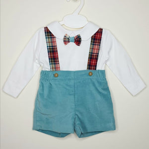 Boys Velour Shorts, Braces And Bow Tie Set
