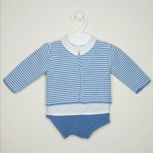 Portuguese Boys Blue Knitted Set With Shirt