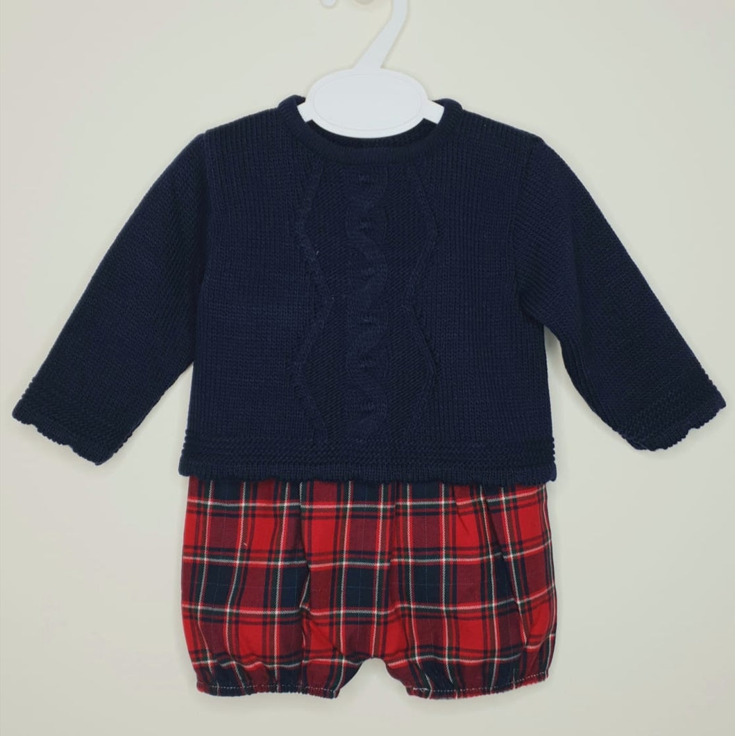Traditional Navy Jumper With Red Tartan Shorts
