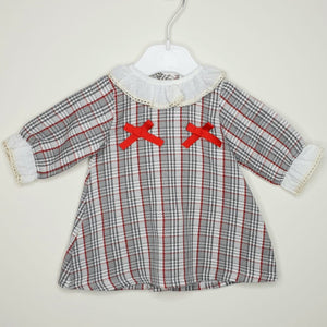 Girls Houndstooth Dress With Frill Collar And Cuffs