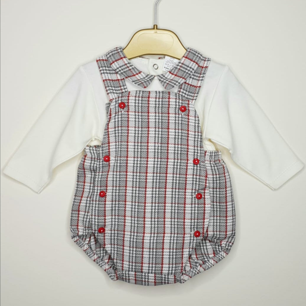 Boys Traditional Houndstooth Romper With Shirt