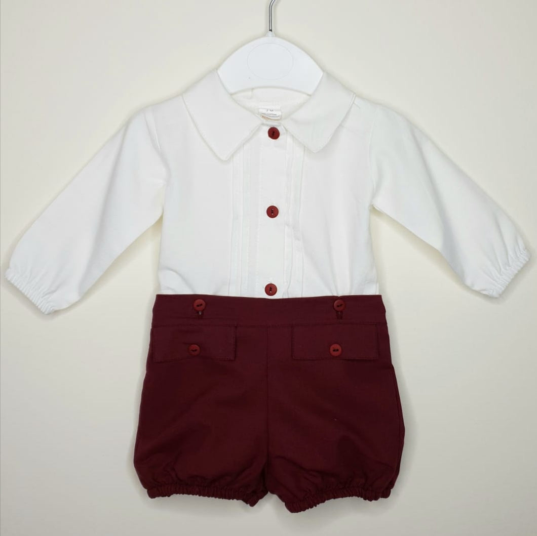 Portuguese Boys Outfit With Shirt And Maroon Shorts