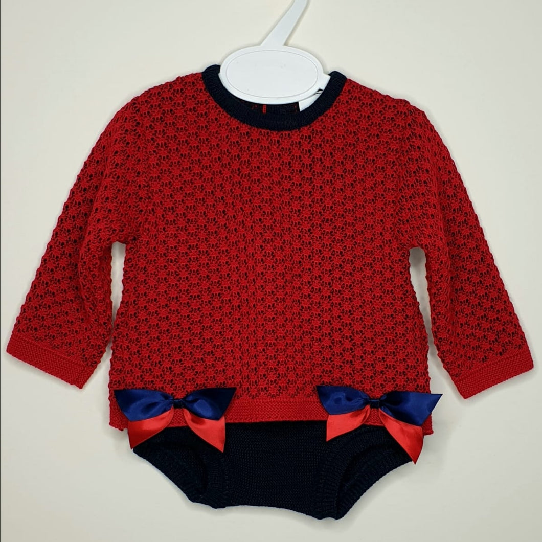 Portuguese Baby Girls Red And Navy Knitted Outfit