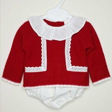 Load image into Gallery viewer, Traditional Baby Girls Knit Set With Ruffle Collar And Jam Pants