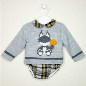 Boys Traditional Jumper And Jam Pants Set With Fox