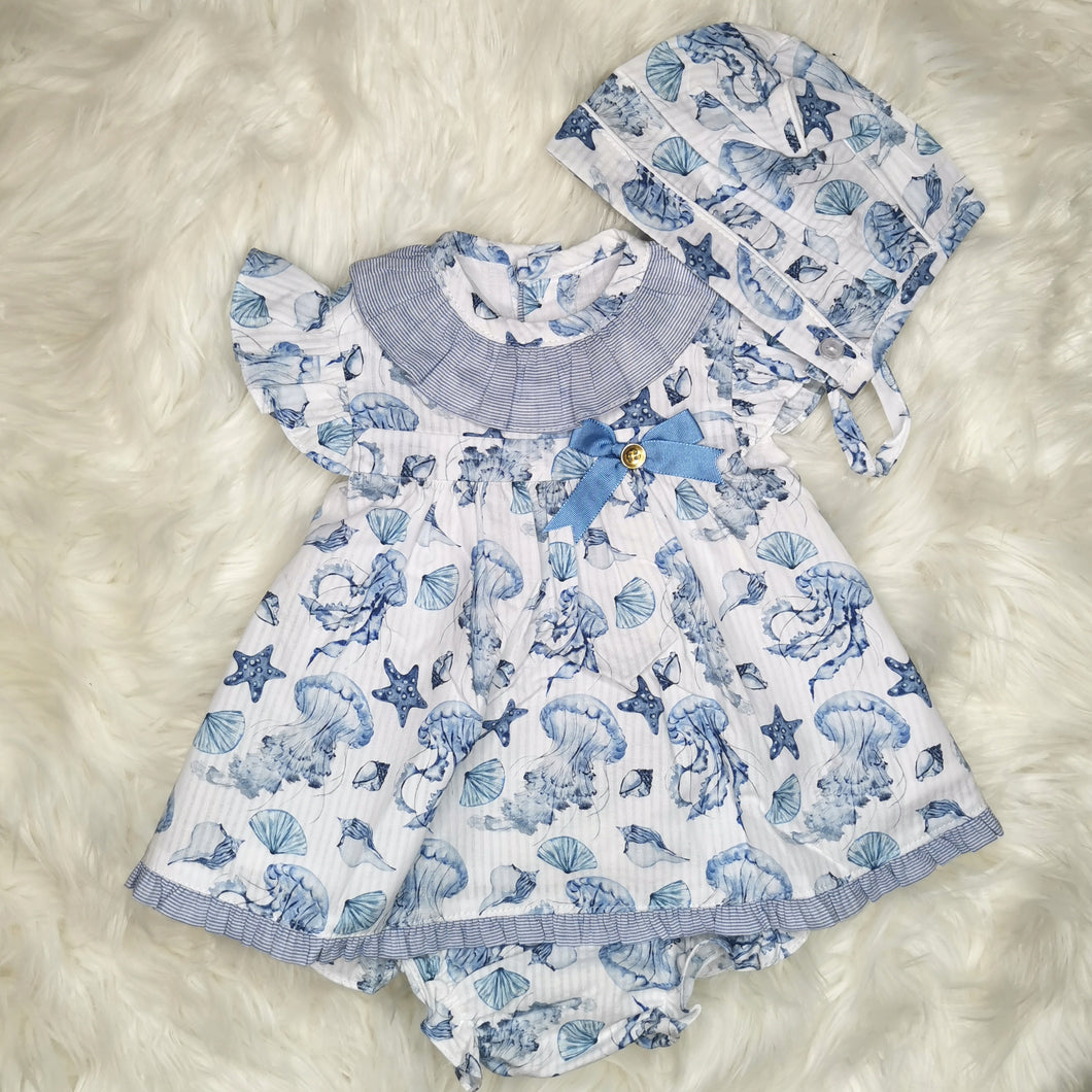 Baby-Ferr 'Under The Sea' Dress With Bonnet and Bloomers