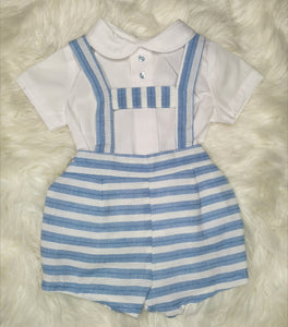 Boys Spanish H-Bar Blue And White Stripe Outfit