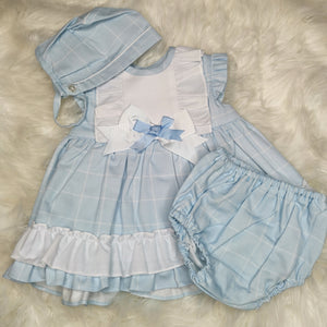 Baby-Ferr Girls Sky Blue Dress With Bonnet and Bloomers