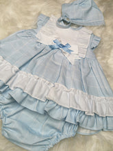 Load image into Gallery viewer, Baby-Ferr Girls Sky Blue Dress With Bonnet and Bloomers