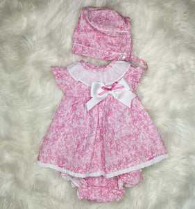 Baby-Ferr Girls Pink Dress With Bonnet and Bloomers