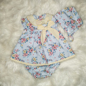 Baby-Ferr Girls Dress With Flower Print, Bonnet and Bloomers