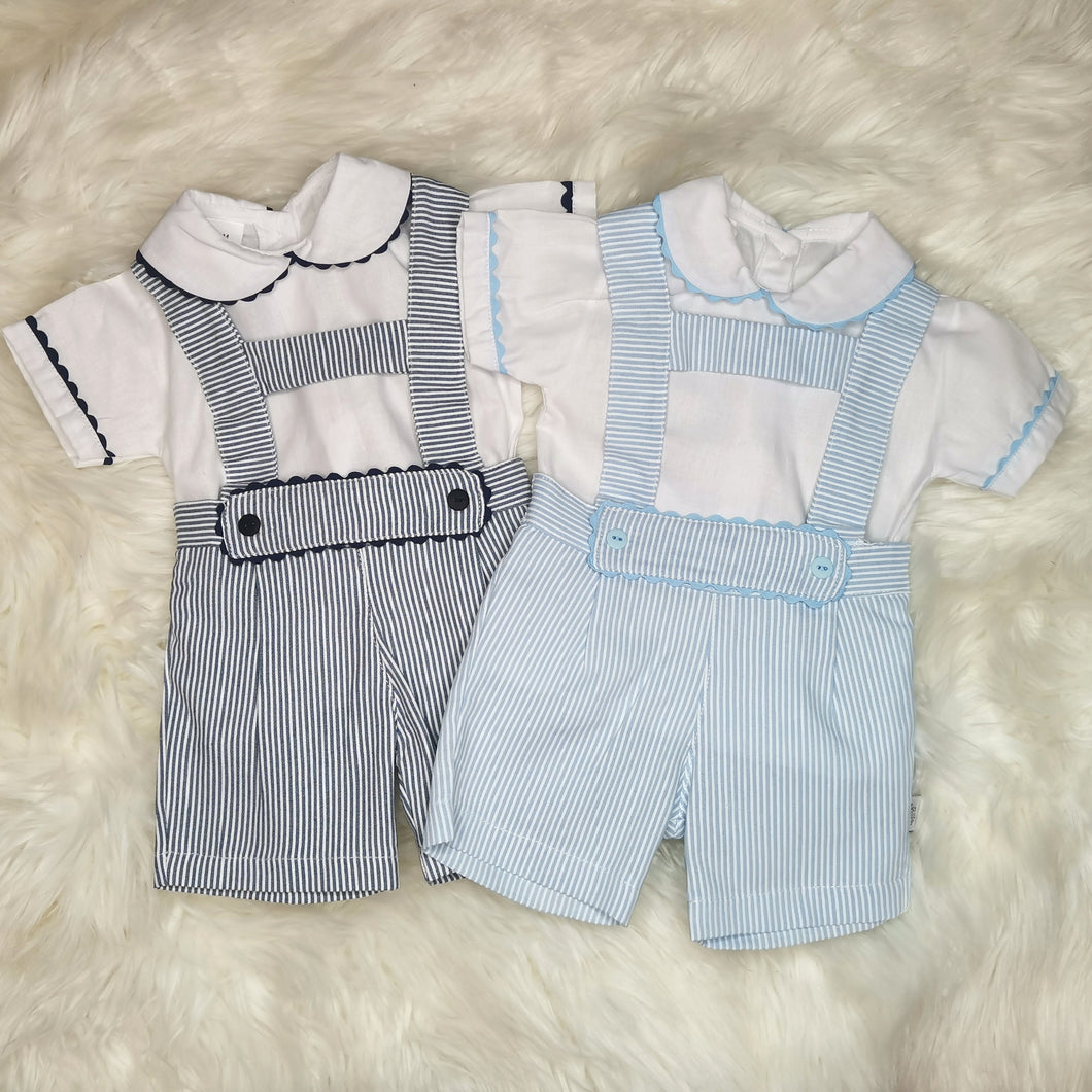 Boys Traditional H-Bar, Pin-Stripe Romper