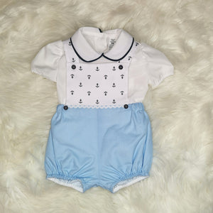 Boys Traditional Romper With Anchors