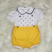 Load image into Gallery viewer, Boys Traditional Romper With Anchors