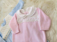 Load image into Gallery viewer, Portuguese Baby Pink Velour Baby Sleepsuit