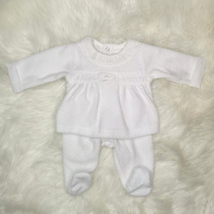 Unisex White Velour Two Piece Outfit